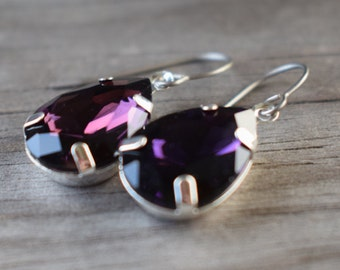 Amethyst Crystal Earrings with Hypoallergenic Titanium Ear Wires