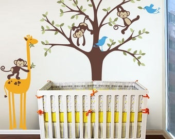 Monkeys, Giraffe, Birds and Tree - Nursery, Kids Wall Decal