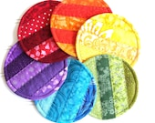 Rainbow Quilted Coaster Set, Fabric Coasters, Colorful Mug Rugs, Set of 6