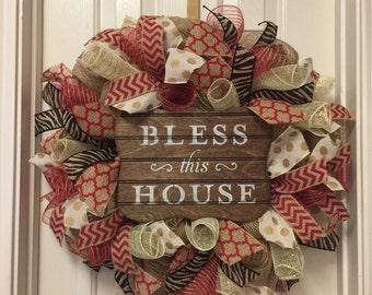 Red Burlap Wreath Animal Print Deco Mesh Bless this House Burlap