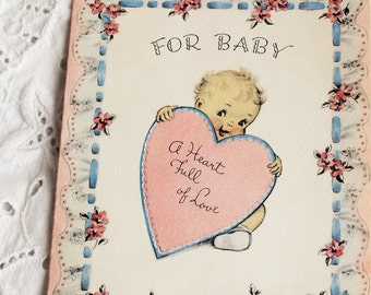 1940s cute newborn baby Valentine love greeting card by Norcross / retro shower ephemera / 2 images with puppy & hearts / pastel pink blue