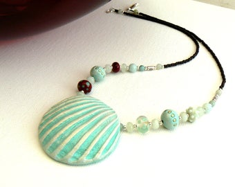 Ceramic Shell Necklace,Lampwork,Amazonite and CeramicNecklace,Ivory and Turquoise Handmade Necklace,OOAK