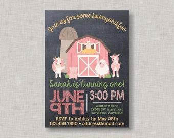 Farm Birthday Invitation, Farm Invitation, Pink Farm Invitation, Girl Farm Invitation, Barnyard Invitation, Farm Birthday, Chalkboard