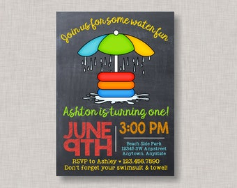 Splash Party Invitation, Splash Pad Invitation, Splash Pad Party, Water Slide, Pool Party, Chalkboard, Water Park, Summer, Birthday
