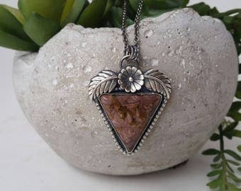 Handmade Southwestern Riviera Agate Necklace, Sterling Silver Agate Leaf and Flower Pendant