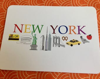 5x7 New York NYC notecard with with Statue of Liberty, taxi, pigeon, Metro card, Guggenheim, Brooklyn Bridge, Flatiron building and more.