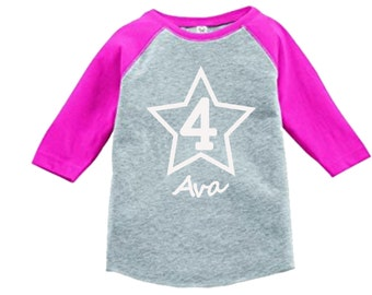Personalized Birthday Star Shirt - 3/4 or long sleeve relaxed fit raglan baseball shirt - Any age and name - pick your colors!