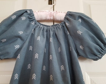 Girls Corduroy A-line Peasant Dress - Teal Green, Chevron Print - Short or Three Quarter Sleeve - Size 6M to 14 - Made to Order