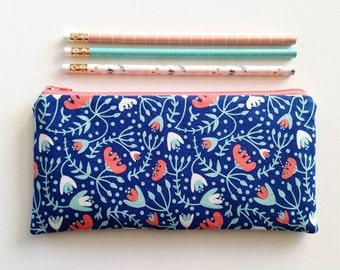 Floral pencil pouch, zipper pouch, pencil case, make up bag, cosmetic bag, zipper bag, travel bag, card holder, wallet, small clutch