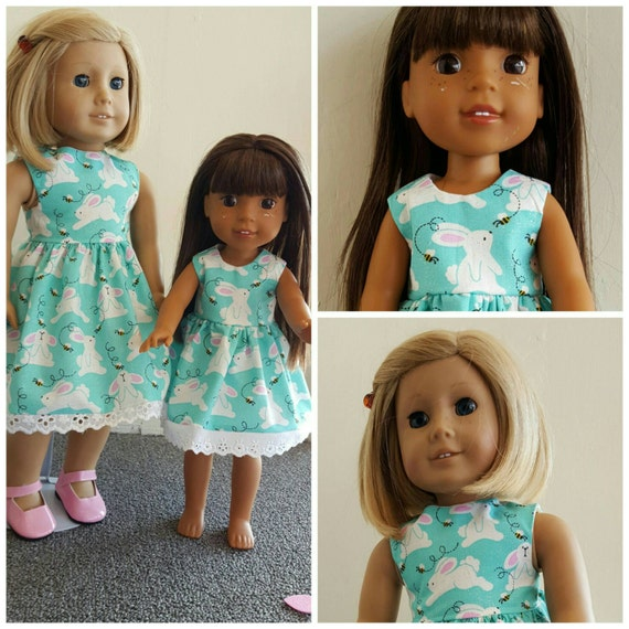 Ag and WW Blue Bunny Dress for Easter.  American Girl and Wellie Wisher Dolls