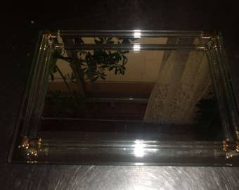 vintage glass vanity dresser mirror tray trinket