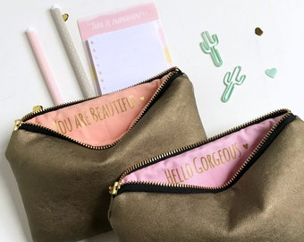 Personalized Bridesmaid Gifts. Two Custom Message Makeup Bags. Gold Leather