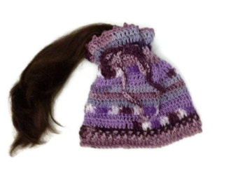 Purple Ponytail Hat Crochet Handmade Bun Hat Handcrochet Purple Tones Messy Bun Dreadlocks Band