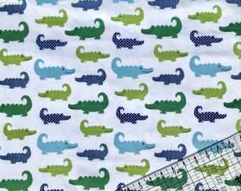 BTY Alligator Snuggle Flannel Fabric By The Yard