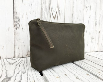 Solid Waxed Canvas Travel Bag, Large Minimalist Toiletry Bag, Vegan Make Up Case, Cosmetic Storage, Unisex Coin Purse, Water Repellent Pouch