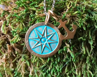 NEW Hand Stamped Brass Finish Nautical Compass Rose Anchor Necklace Pendant in Aqua Verdigris on 18inch Stainless Chain Rockability Charms