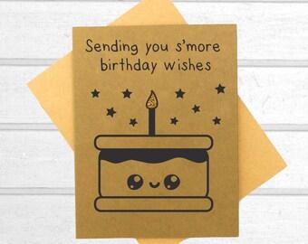 Smore Birthday Card - Funny Friend Birthday Card - Birthday Card - Pun Card - Greeting Card - Blank Greeting Card - Kawaii Birthday Card