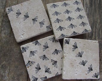 Natural stone coaster.  Happy Bee Coasters.  Set of Four Coasters.  Birthday Gift.  Bee Gift. Nature.  Bumble bee.  Honey Bee