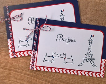 Westie Cards Set of 2, Blank Cards Set, Bonjour Cards, Paris Cards, French Cards, Eiffel Tower Cards, Westie Lover Gift