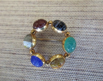vintage 12K gold filled scarab brooch with natural stones - good luck