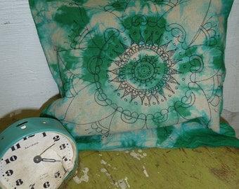 Turquise handdyed batik pillow, mandala pattern