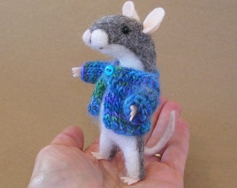 Felt Mouse, Needle Felted Mouse, Gray Mouse with Ocean Colors Sweater