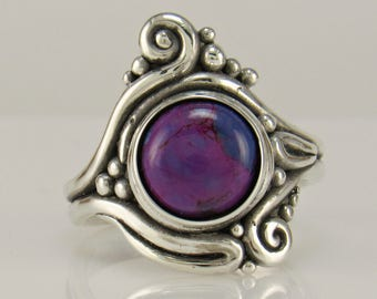 R1052- Sterling Silver Copper Purple Turquoise Ring- one of a kind