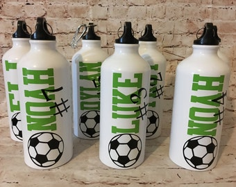 Personalized Soccer Water Bottles - Team Bottles - Sports Gift - Team Gifts - Party Favors