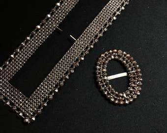 VICTORIAN STEEL BUCKLE pieces. cut steel.  vintage supply. No.001517