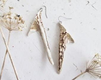 Horn Earrings Deer Antler Jewelry -BROWEN- Tribal Carved Bone Tusk Bohemian Jewelry