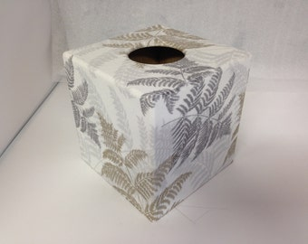 Tissue Box Cover Silver Fern  wooden decoupaged made by hand