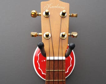 Instrument Wall Hanger Hook for Ukulele, Fiddle, Mandolin, Violin or Guitar - Ready to Ship - Floral