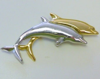 Vintage LEAPING DOLPHIN Signed LC  Liz Claiborne Gold Silver Tone Porpoise Pin