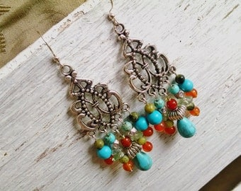 Colorful chandelier earrings, silver, turquoise, fire agate, green jasper gemstone long chandelier statement earrings