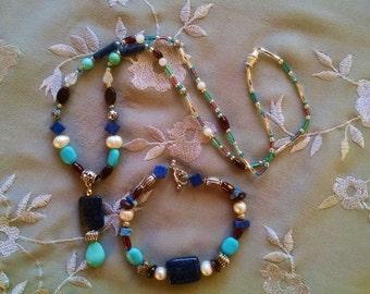 Lapis turquoise necklace bracelet set, Lapis, turquoise, garnet, freshwater pearl, moonstone, silver necklace bracelet set