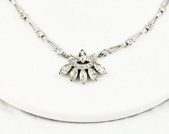 Art Deco Sterling Silver Bridal Wedding Crystal Choker
