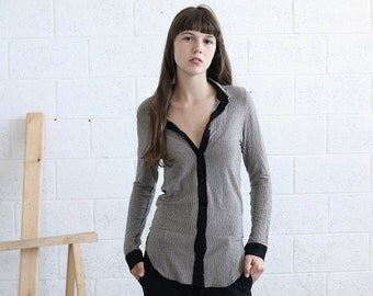 Pre Winter Sale 15% Striped Knit blouse-Light Gray jersey shirt