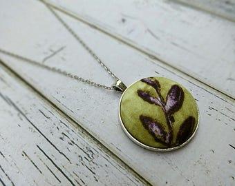 Fabric Pendant Necklace, Fabric Necklace, Pendant Necklace, Fabric Jewelry, Boho Necklace, Large Pendant, Purple Necklace, Purple Ivy