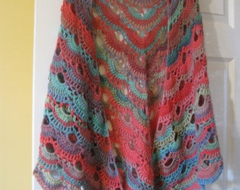 Crochet virus shawl, made to order