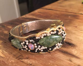 Noman swiss beaded hinged bracelet watch