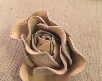 Taupe suede leather rose dress clip