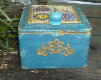 Moroccan inspired Box made with tiles, excellent for jewelry,  keepsake box, wedding gift