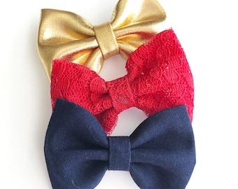 Patriotic Bows - 4th of July Bows - Red Blue Gold Bows - July Fourth Headbands - Baby Bows - Bow Set -Mini Bows -Nylon Headbands -Bow Clips