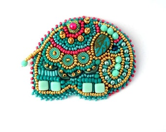 Elephant brooch, Turquoise brooch, Turquoise elephant brooch pin, Elephant gifts, Bead embroidered brooch,  Gift for women