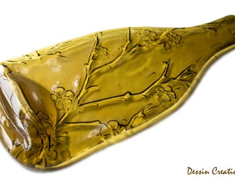 NEW Wine Bottle Cheese Tray,  Cherry Tree Design, Spoon Rest, Melted Wine Bottle, House Warming Hostess Gift,  Dessin Creations