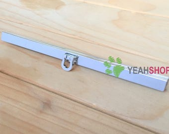 19cm / 7.5 inch GLUE ON Straight Channel Wallet Frame - U Opening - Silver