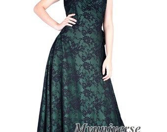 Black Lace Formal Gown Bridesmaid Dress Infinity Dress Green Wrap Dress Deep Green Wedding Evening Gown Ball Women Long Plus Size Clothing