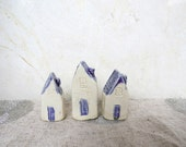 Stocking Stuffer. 3 Mini Ceramic Houses. Christmas ornaments. pottery ornaments.
