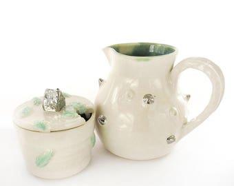 Ceramic Sugar and Creamer set. Wedding Gift. White Gold. Modern Ceramics. Handmade. Home Decor