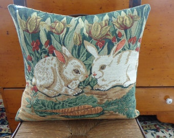 """Jacquard Tapestry Pillow Cover (17"""" x 18"""") Bunnies and Tulips in Greens/Tans"""